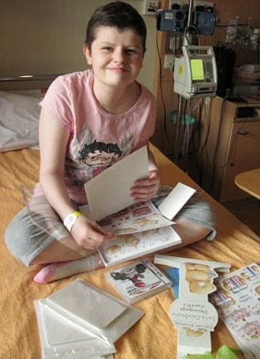Alice with cards from well-wishers
