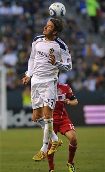 David Beckham in action during the Galaxy-Chicago Fire game