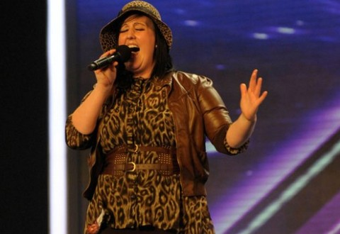 Samantha Brookes performing on X Factor
