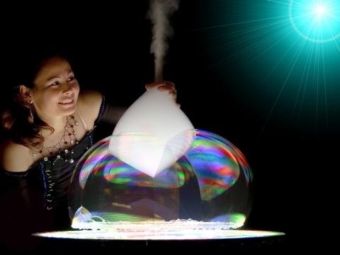 Ana Yang makes a bubble volcano at the Gazillion Bubble Show