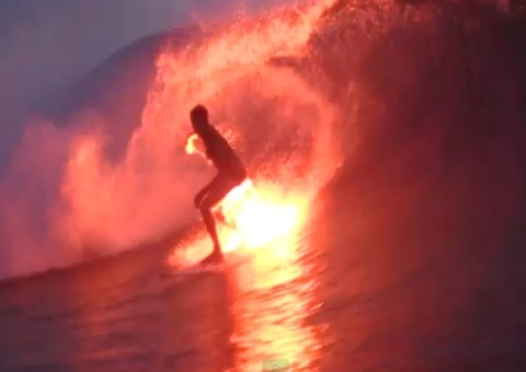 Flare Surfing At Night