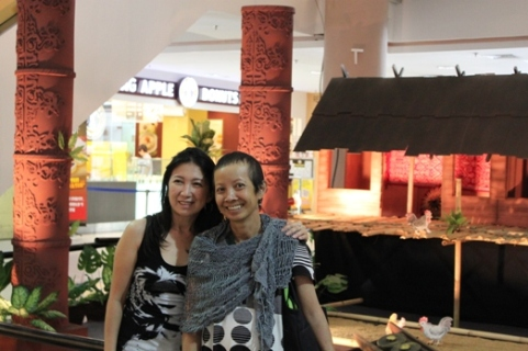 Sophia Tan (on the right) and Marissa Cuba at Bintang Megamall eralier this year during their annual dinner held in Miri