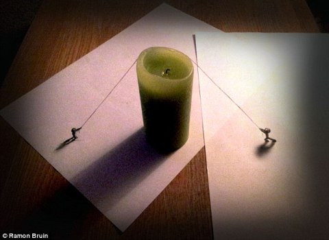 A clever use of a  candle as a  prop really helps to bring life to thestatic drawing