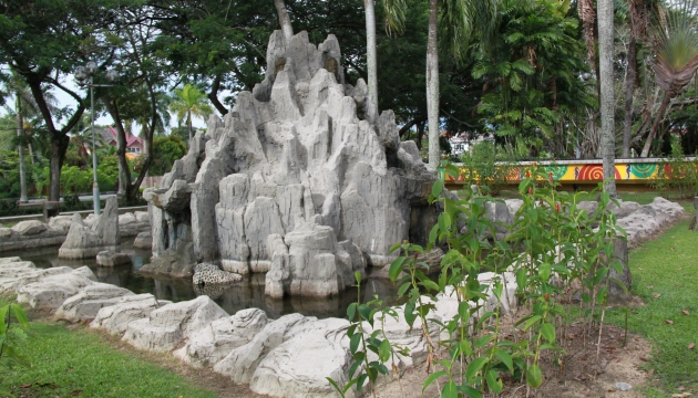 A rock & water feature