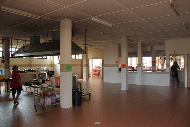 The kitchen area of the new cafeteria