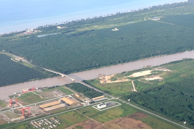 View of the Asean Bridge on my return flight from KL