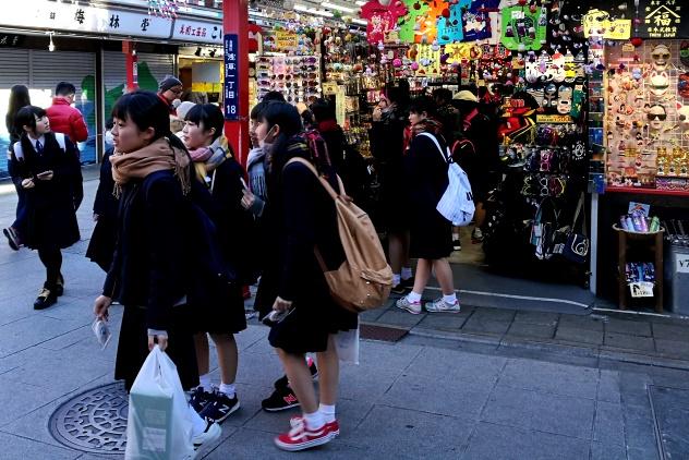 Schoolgirls in cute uniforms