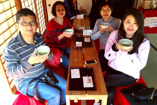 Enjoying our macha inside the teahouse