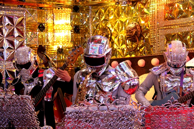 The band dressed in robot suits