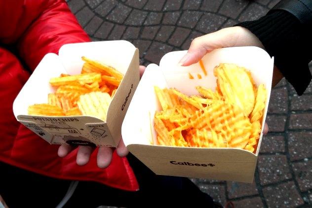 Freshly baked Calbee chips