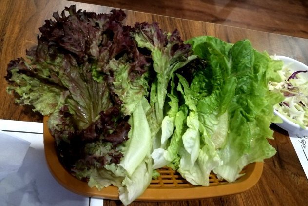 The leafy vegetables to go with Samgyeopsal