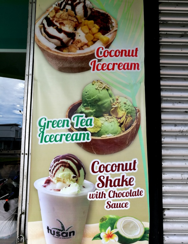 A banner advertising the icecream
